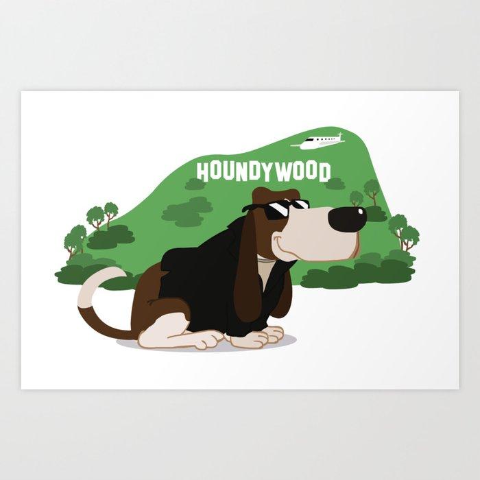 Hollywood Basset Hound Art Print