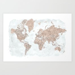 Calista watercolor detailed world map Art Print