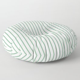 Moss Green Green Pin Stripe on White Floor Pillow