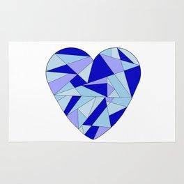 Fractal Blue Heart Rug