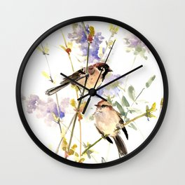 Sparrows and Spring Blossom Wall Clock