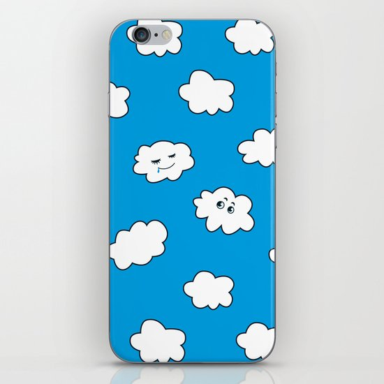 Blue Sky Happy Funny Clouds iPhone & iPod Skin