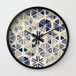 Hand Painted Triangle & Honeycomb Ink Pattern - indigo & cream Wall Clock