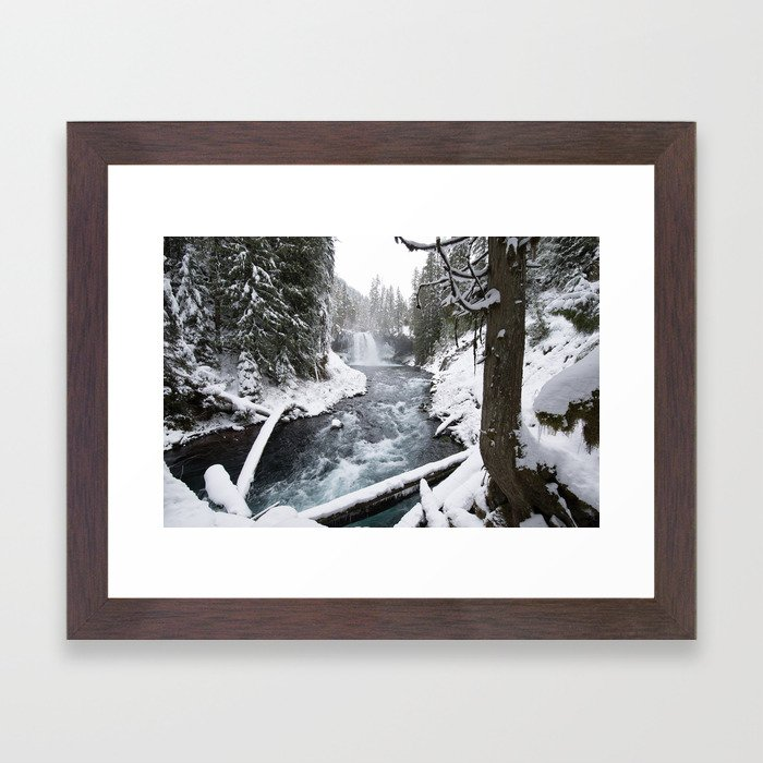 The Wild McKenzie River Waterfall - Nature Photography Framed Art Print