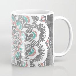 Pastel Floral Medallion on Faded Silver Wood Coffee Mug