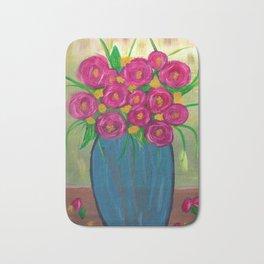 Pink roses in Blue vase Bath Mat