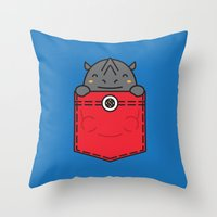 pocket Throw Pillows featuring Pocket Rhino by Steven Toang
