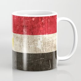 Vintage Aged and Scratched Egyptian Flag Coffee Mug