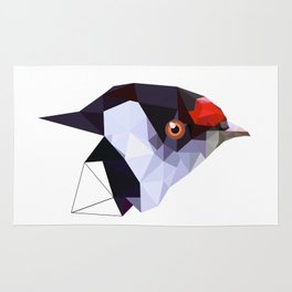 Geometric bird Tangarazinho Black Gray red Rug