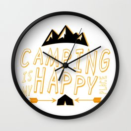 Camping Is My Happy Place Camper Funny Wall Clock