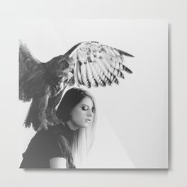 Owl on Woman's Shoulder Metal Print