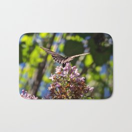 Butterfly on Lilacs Bath Mat