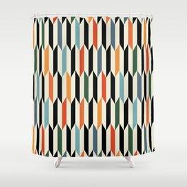 MCC Oddities III - Mid Century Modern Geometric Abstract Pattern - Red Orange Blue Green Black Shower Curtain