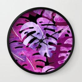 Monstera Plant Leaves | Watercolor Collage Tropical Pink Purple | Renee Davis Wall Clock