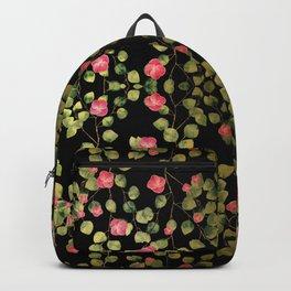 """Spring pink flowers and leaves - Black"" Backpack"