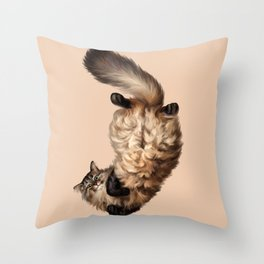Cute Siberian cat lies tummy up Throw Pillow