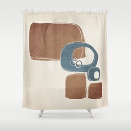Retro Abstract Design in Teal and Cinnamon Shower Curtain