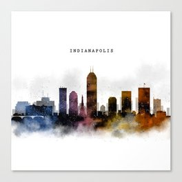 Indianapolis Watercolor Skyline Canvas Print