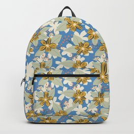 Seventies Floral in Blue and Mustard Yellow Backpack