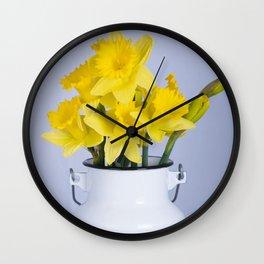 Daffodils in Fresh Milk Jug Wall Clock