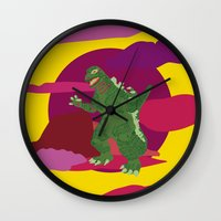 godzilla Wall Clocks featuring GODZILLA by Mariery Young