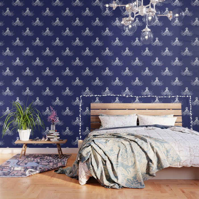 Octopus Vintage Octopus Tentacles Navy Blue And White Wallpaper By Eclecticatheart