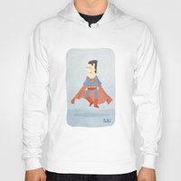 superman Hoodies featuring Superman by Popol
