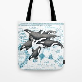 Orca Whales Family Blue Vintage Map Tote Bag