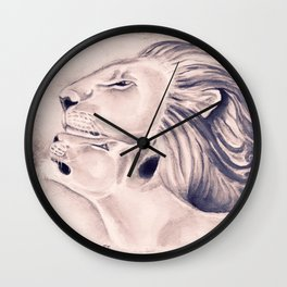 Two Lions Vintage Style Wall Clock