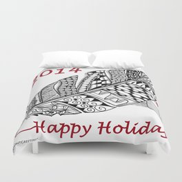 Holiday Greeting Pen and Ink Zentangle Duvet Cover