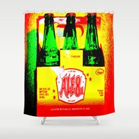 ale giorgini Shower Curtains featuring Ale-8-One (6 Pack) by Silvio Ledbetter