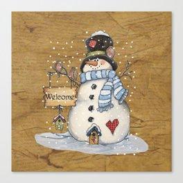 Folk Art Snowman Christmas Canvas Print