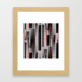 Off the Grid - Abstract - Gray, Black, Red Framed Art Print