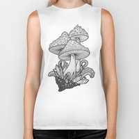 mushrooms Biker Tanks featuring Mushrooms by Sushibird