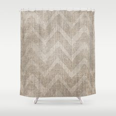 Chevron burlap (Hessian series 1 of 3) Shower Curtain