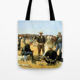 "Frederic Remington Western Art ""Cavalryman's Breakfast"" Tote Bag"