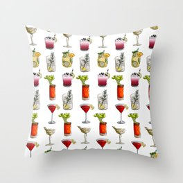Classic Cocktails Pattern - Classic Cocktails series Throw Pillow