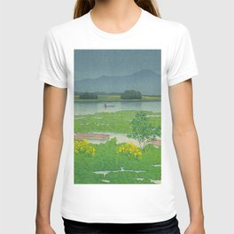 Kawase Hasui Vintage Japanese Woodblock Print Flooded Asian Rice Field Mountain Parallax Landscape T-shirt