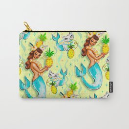 Tropical Pineapple Mermaid with Merkitties Carry-All Pouch