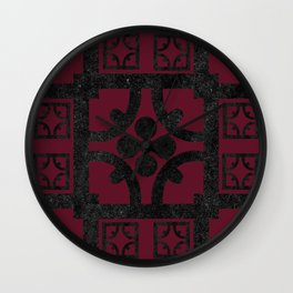 Cherry and black English half-timbered Tudor house pattern Wall Clock