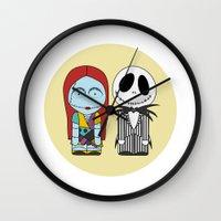 nightmare before christmas Wall Clocks featuring Nightmare Before Christmas by Big Purple Glasses
