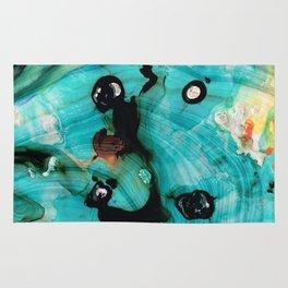 Aqua Teal Art - Volley - Sharon Cummings Rug