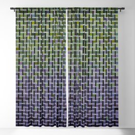 Green and Purple Basket Weave Blackout Curtain