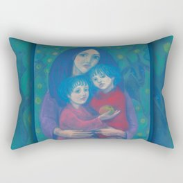 Bedtime fairytale, pastel painting, mother and children, fine art, fantasy, blue, green, pink colors Rectangular Pillow