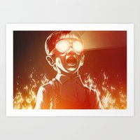 gold Art Prints featuring FIREEE! by Dr. Lukas Brezak