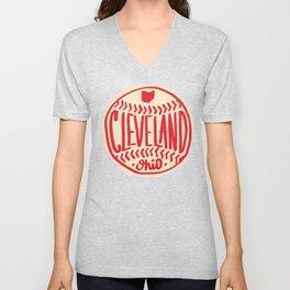 Hand Drawn Baseball for Cleveland Ohio with custom Lettering Unisex V-Neck