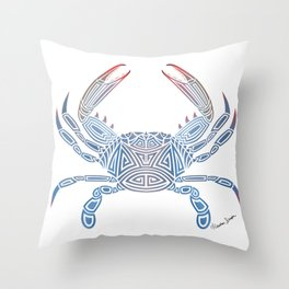 Tribal Blue Crab Throw Pillow