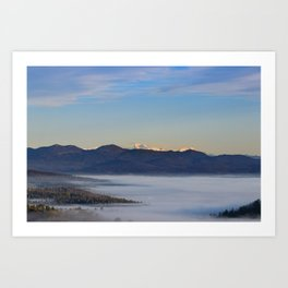 Majestic mountain Triglav with fog in valley Art Print
