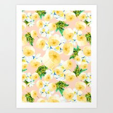 Pattern banana and exotic nature Art Print