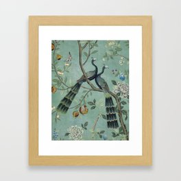 A Teal of Two Birds Chinoiserie Framed Art Print